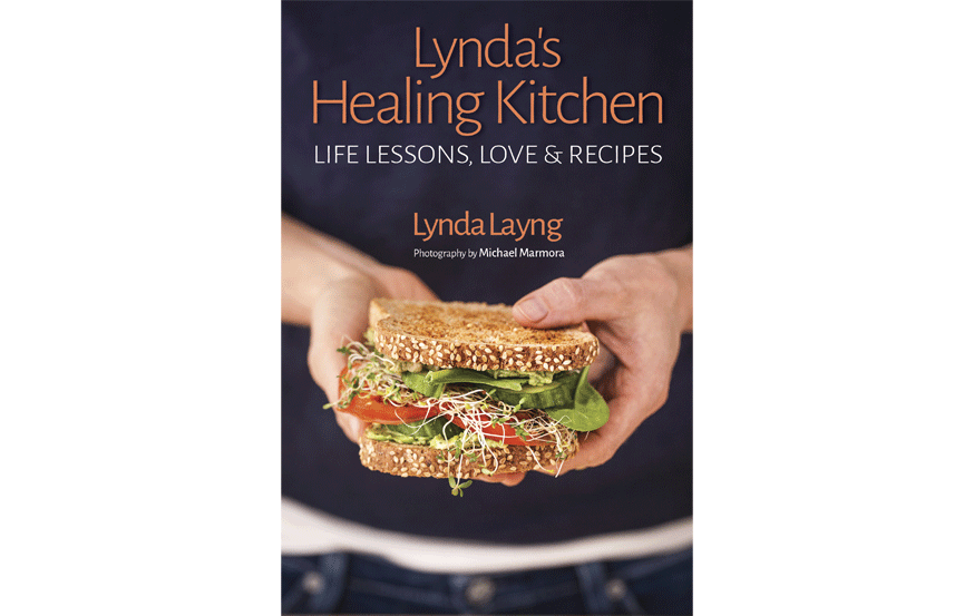 cookbook cover design sample featuring woman holding sandwich