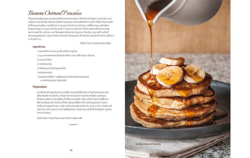 cookbook design sample—interior page layout, recipe formatting