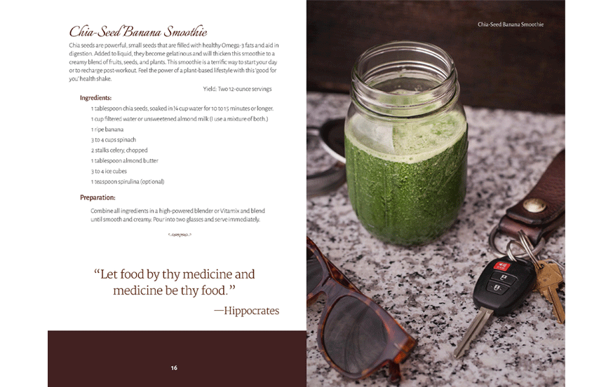 cookbook design sample, interior page layout, recipe formatting