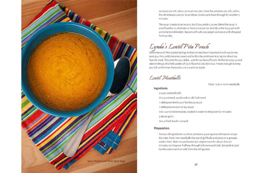 cookbook design sample—interior page layout, recipe formatting