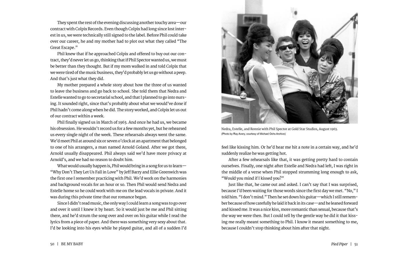Pages 50-51 for Be My Baby, a memoir by Ronnie Spector