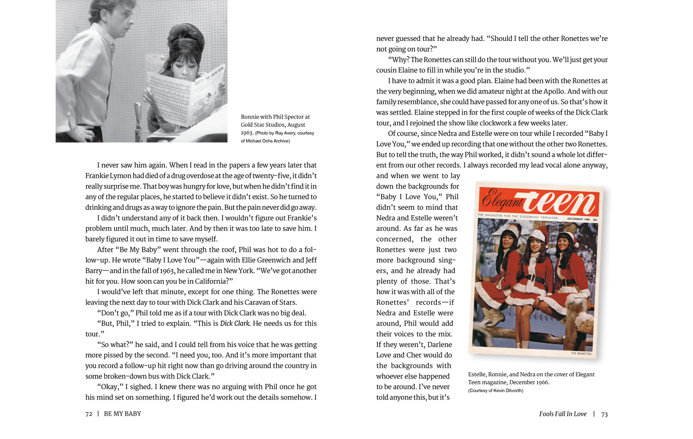 Pages 72-73 for Be My Baby, a memoir by Ronnie Spector