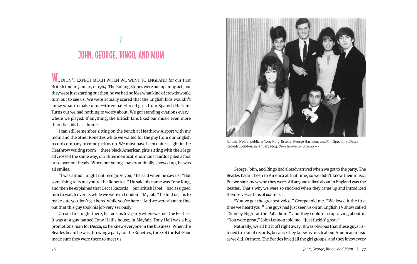 Pages 76-77 for Be My Baby, a memoir by Ronnie Spector