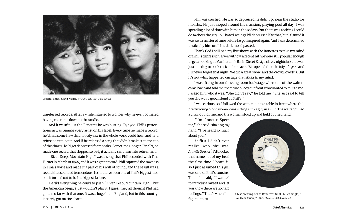 Pages 120-121 for Be My Baby, a memoir by Ronnie Spector