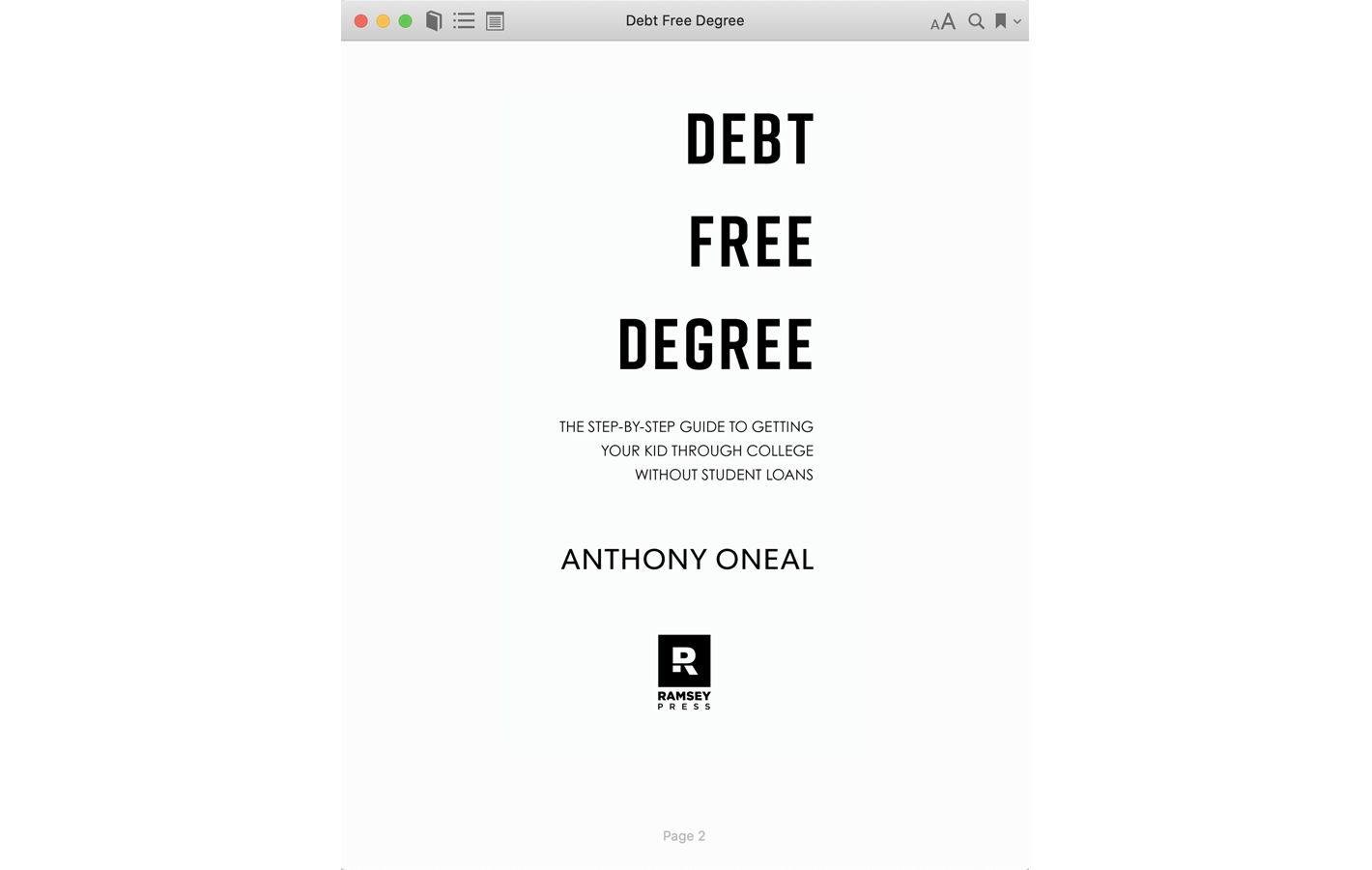 Title page for Debt Free Degree book