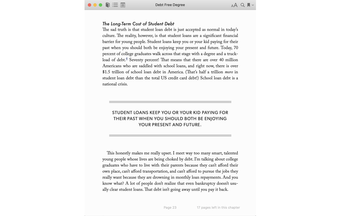 Page 23 for Debt Free Degree book