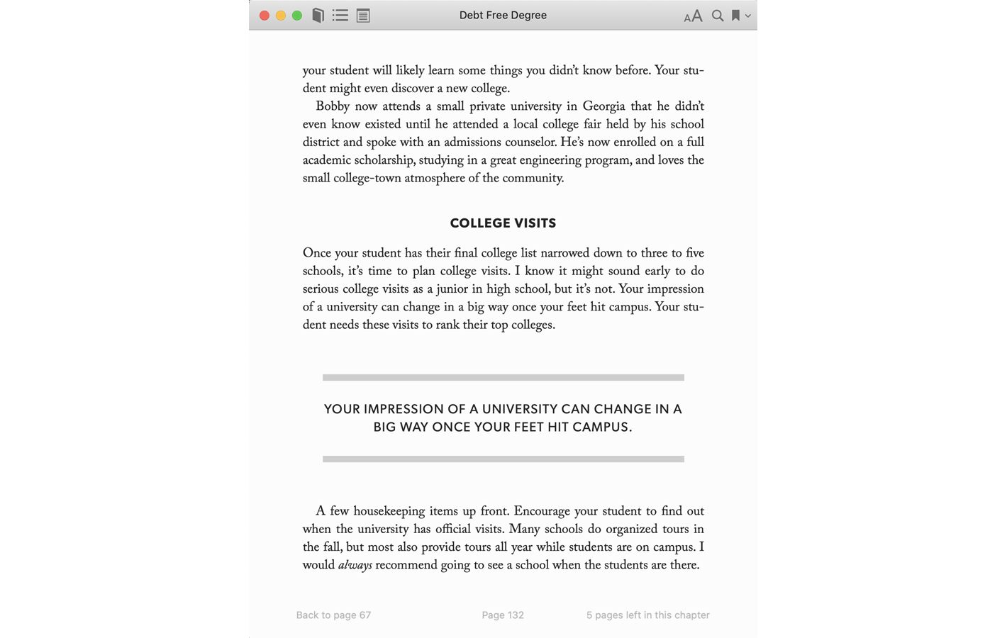 Page 132 for Debt Free Degree book