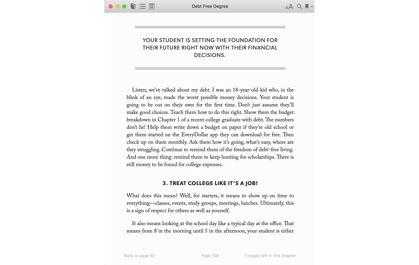 Page 156 for Debt Free Degree book
