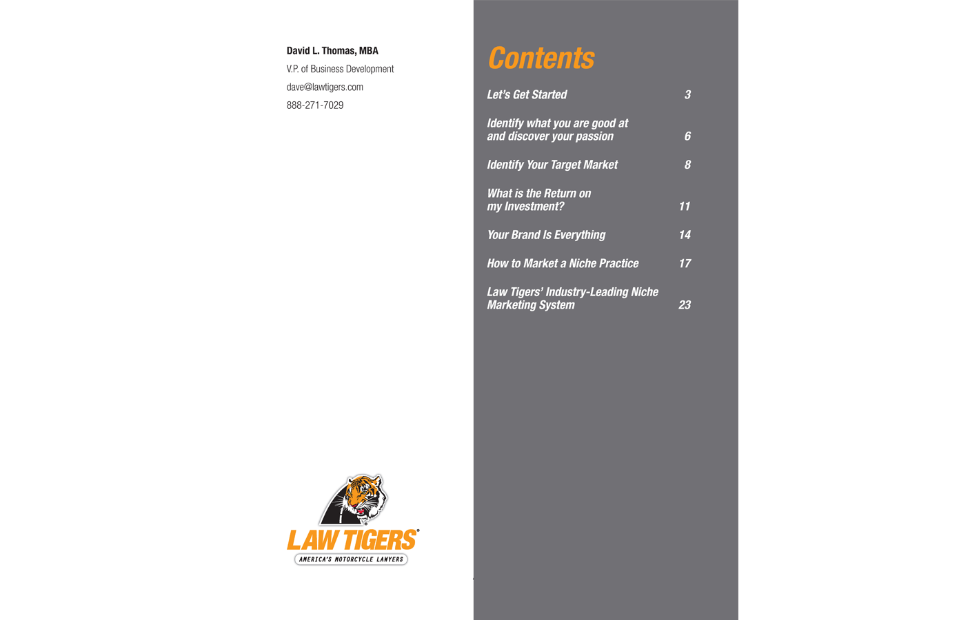 Contents page for The Definitive Niche Marketing Guide for Personal Injury Lawyers